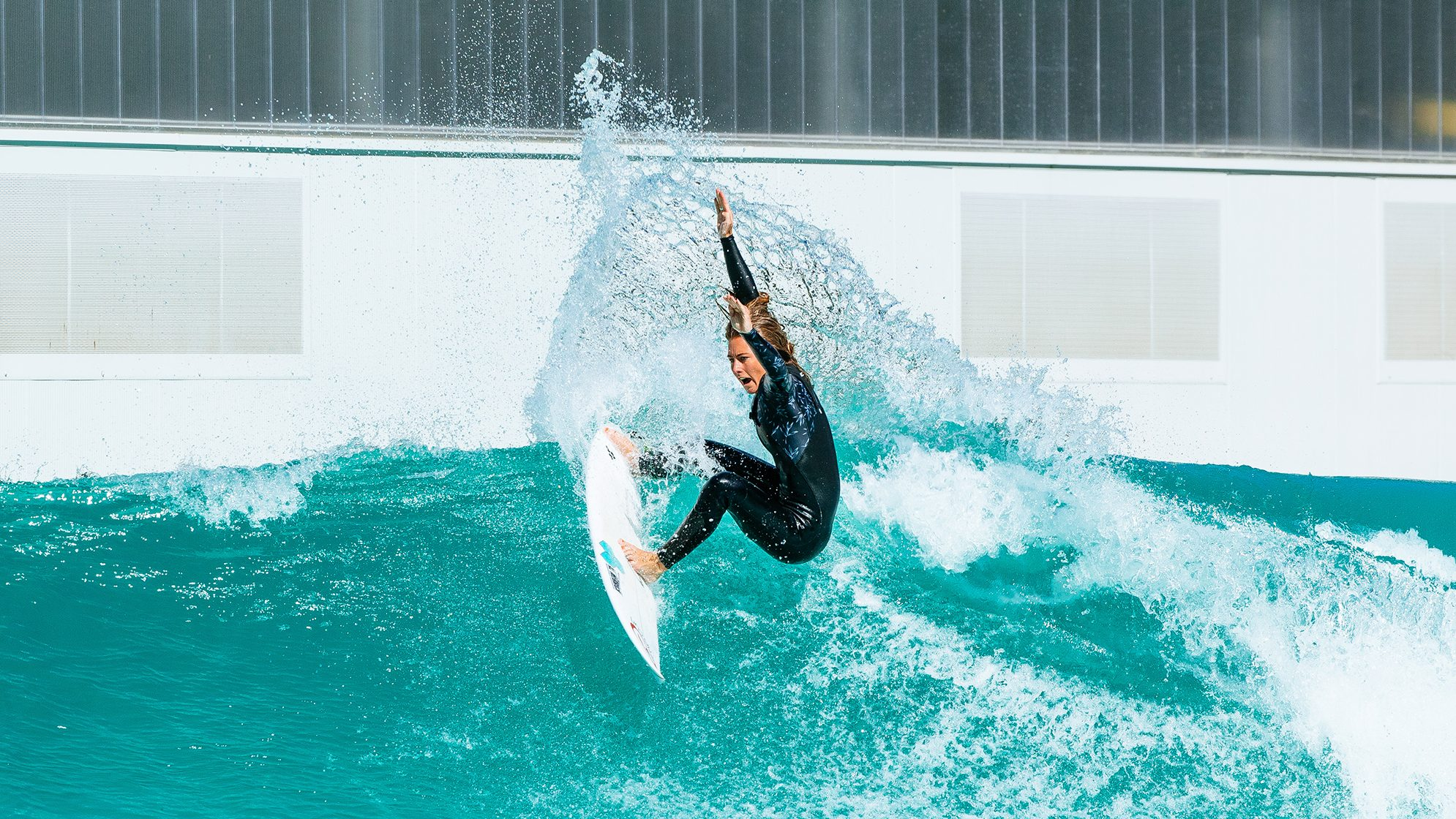 Nikki Van Dijk at Wavegarden test facility: Photo Sloane