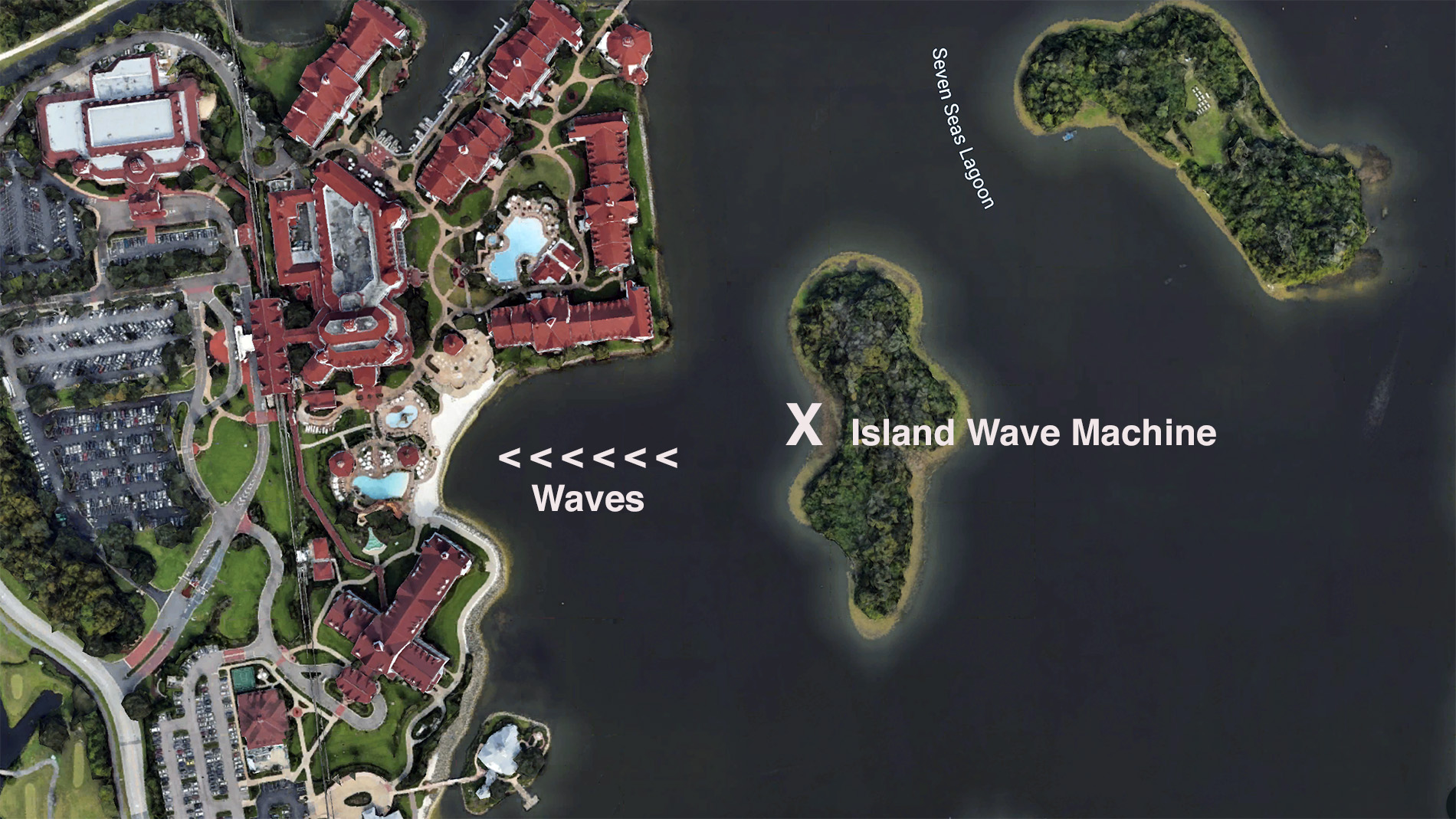 Disney's wave pool in the seven seas lagoon