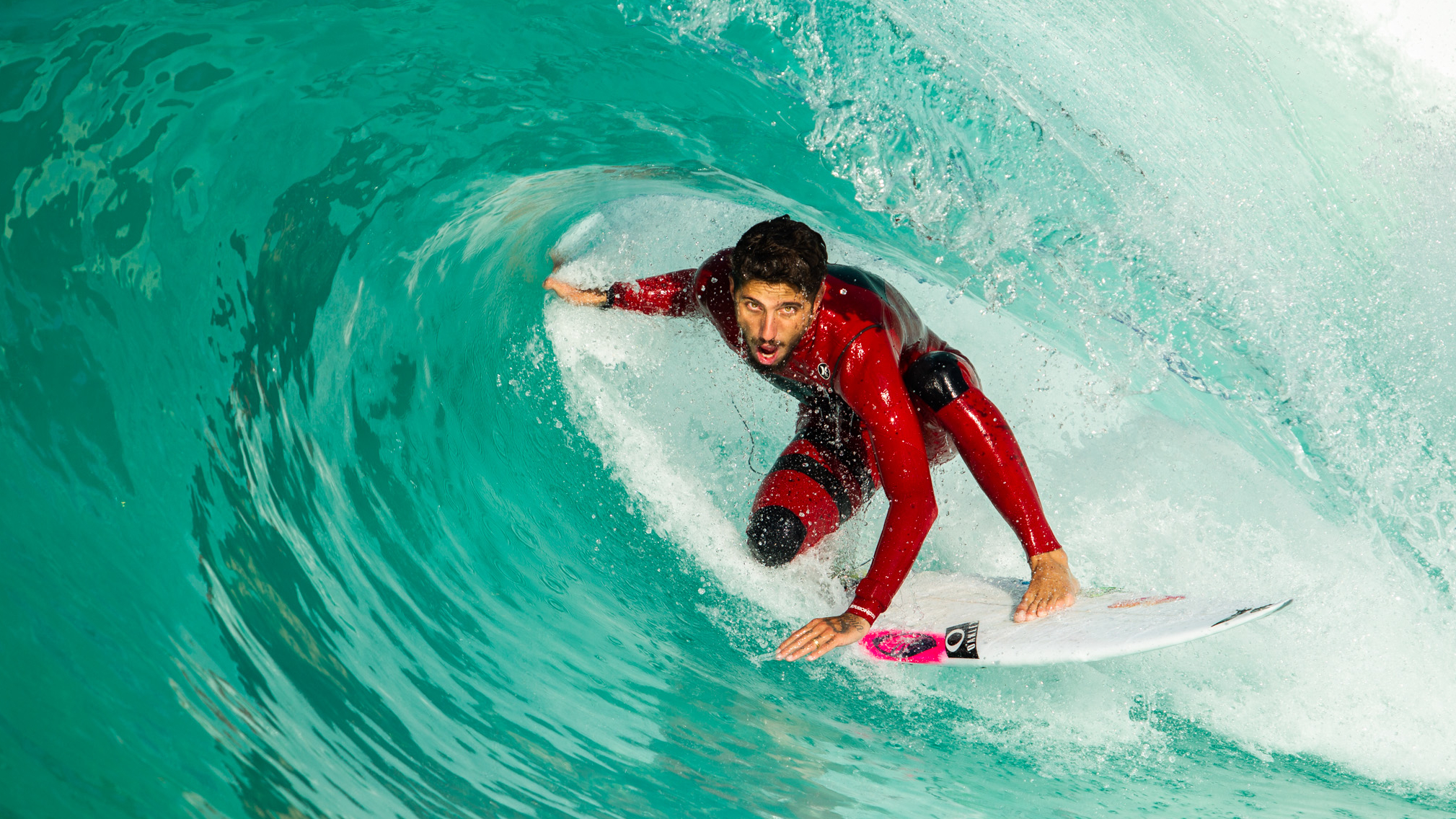 Filipe Toledo using Wavegarden's new slab wave pool setting