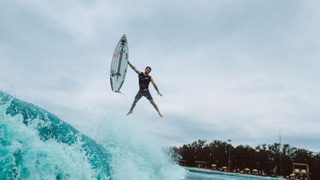 Mason Ho Waco wave pool doing a christ air