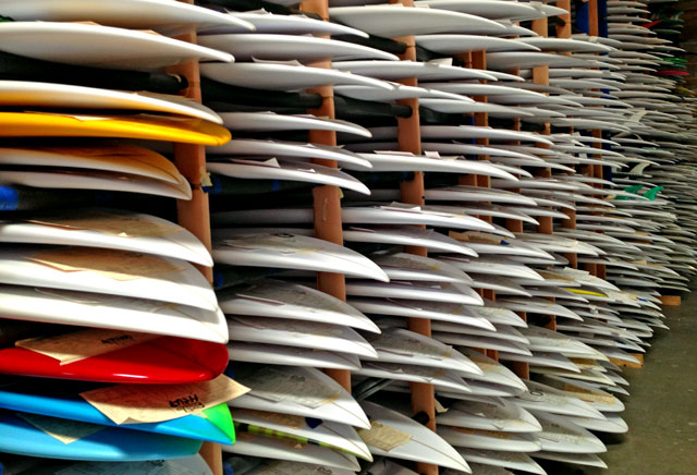 polyurethane surfboards in a factory