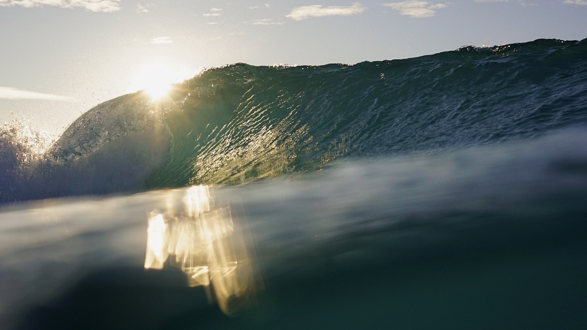 A wave peels off unriden at the Wave in Bristol