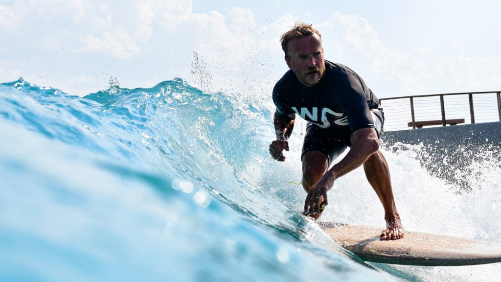 The Wave founder Nick Hounsfield surfing at The Wave