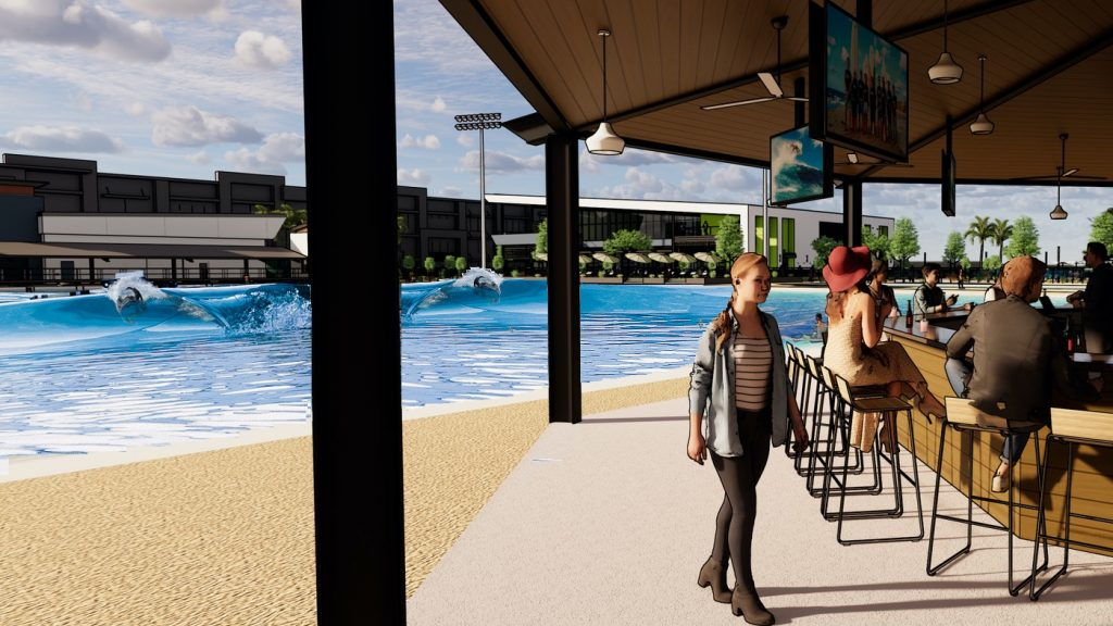 artist rendering of the bar and wave pool at Revel Surf