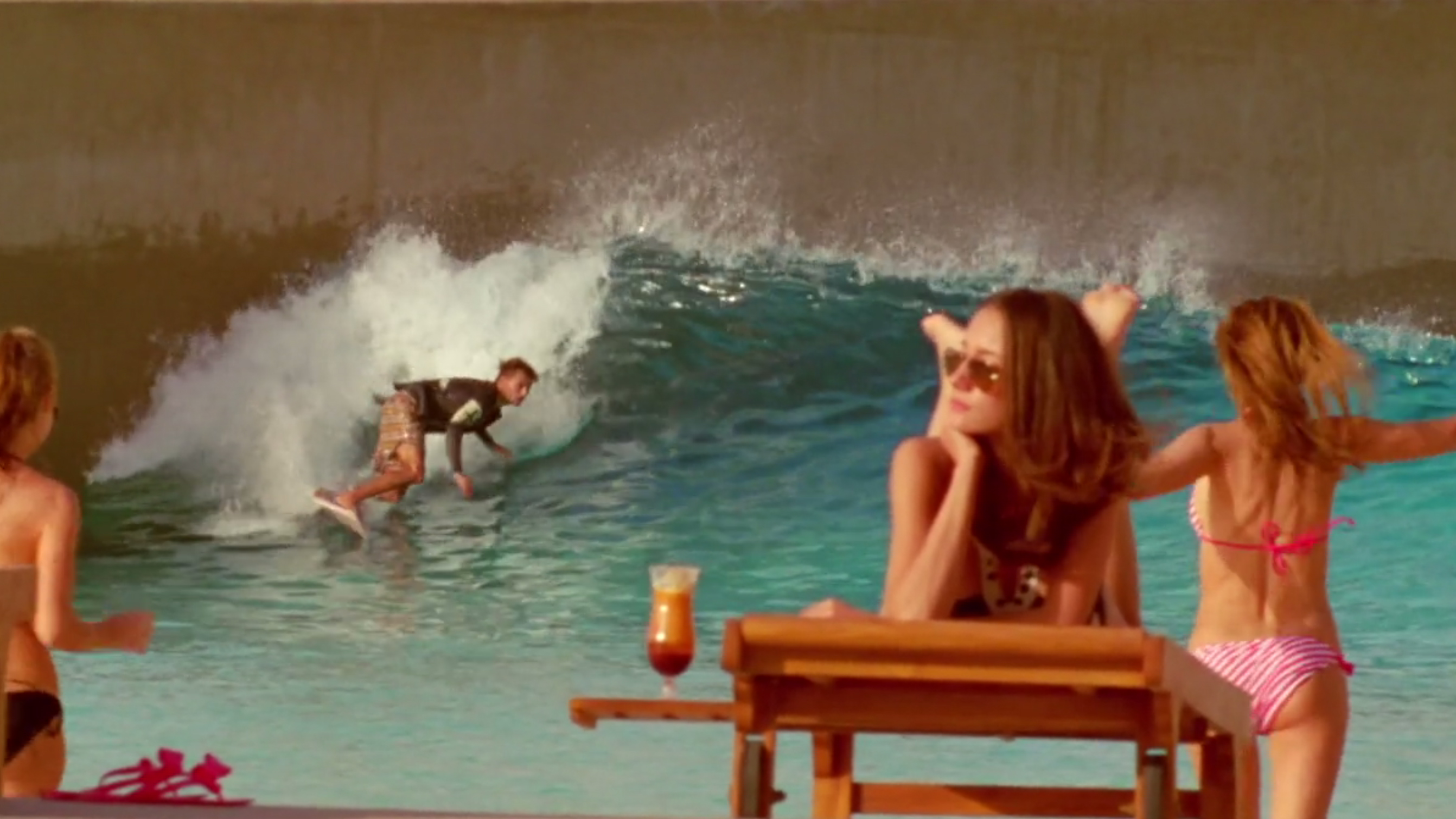 Dion Agius at wave pool in Dubai