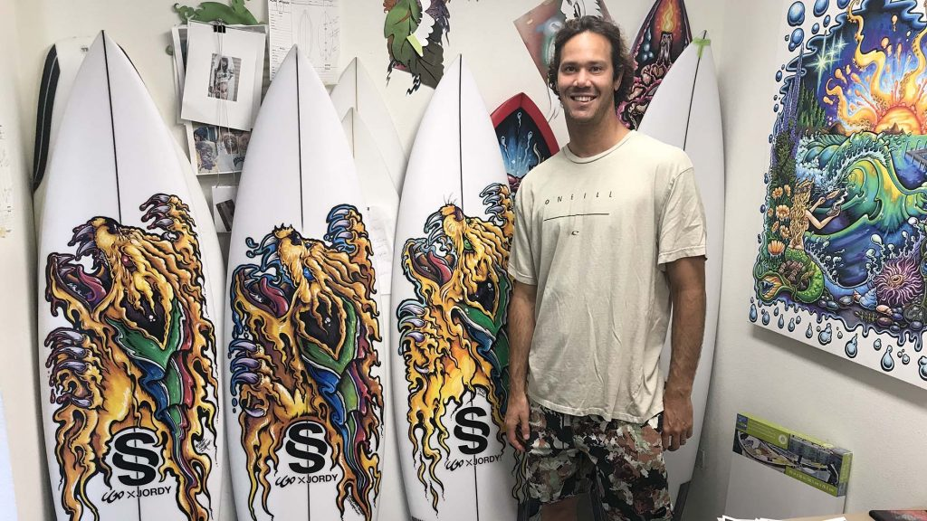 jordy smith with Drew Brophy quiver