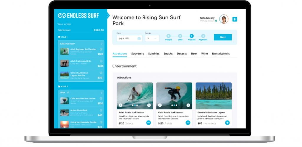 computer interface for surfing an enldess surf wave pool