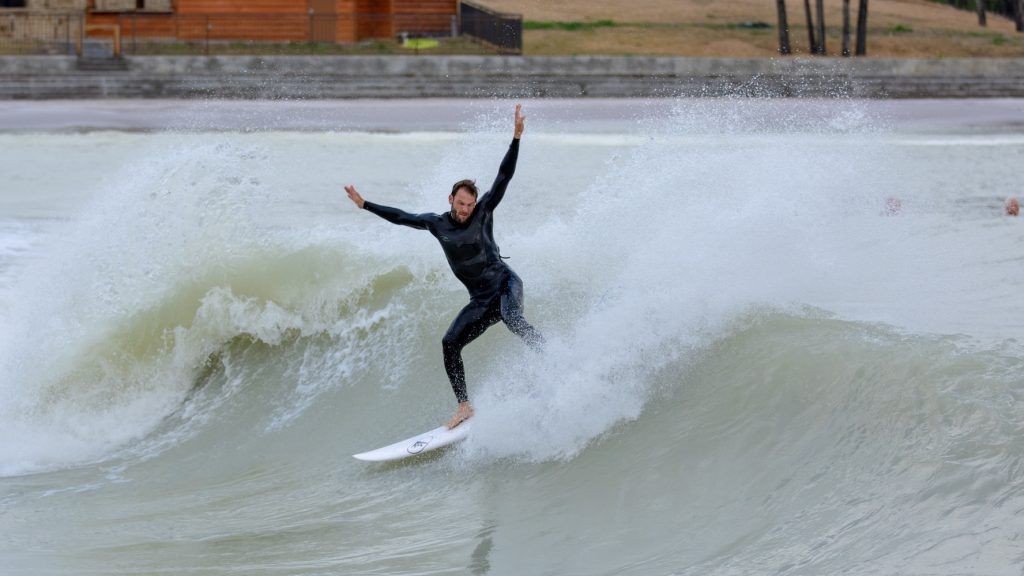Michi Mohr testing the wave pool in Texas