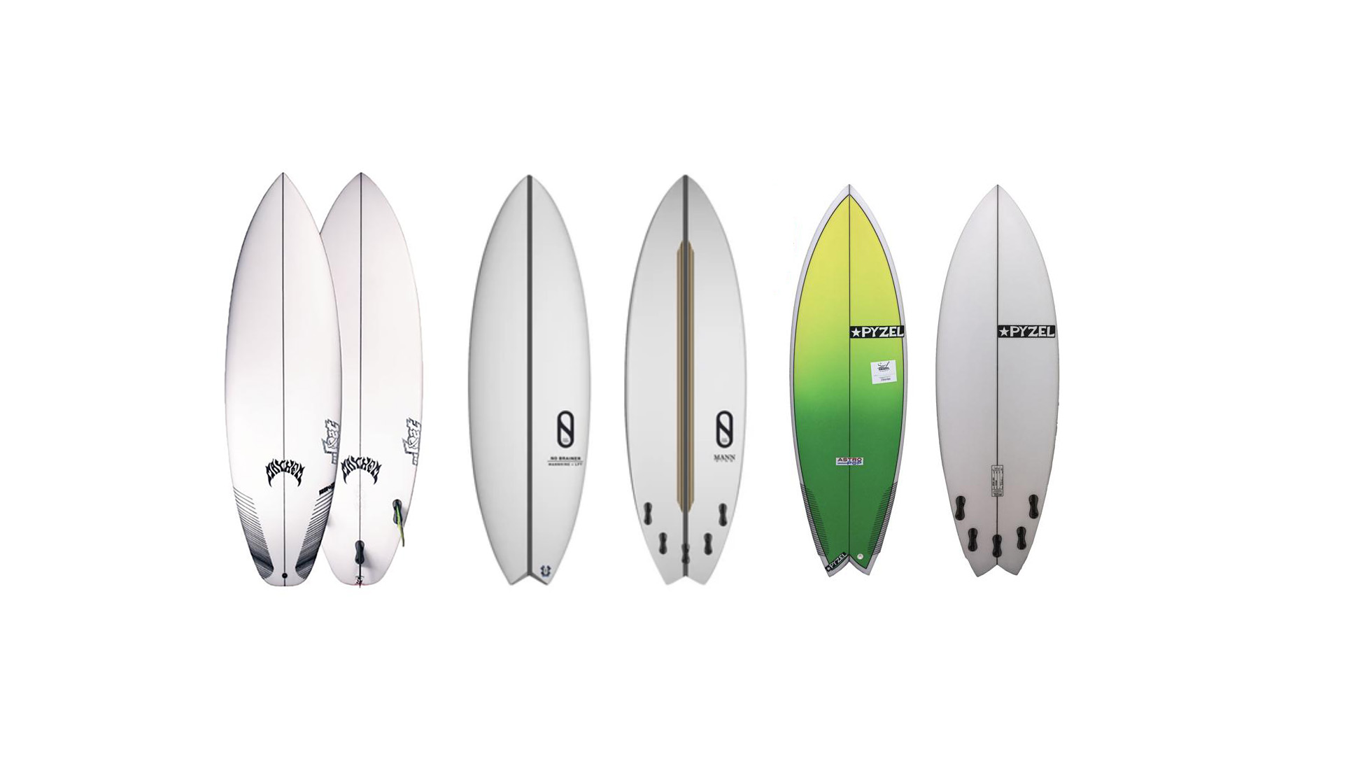 Lost, Pyzel and Slater Designs surfboards