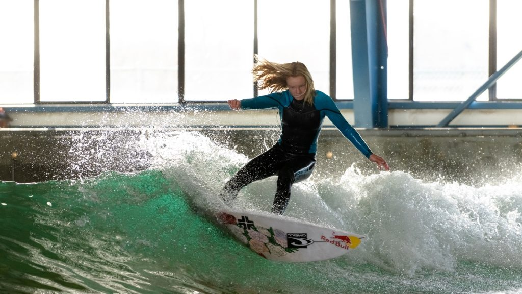 Caity Simmers testing the new wave pool