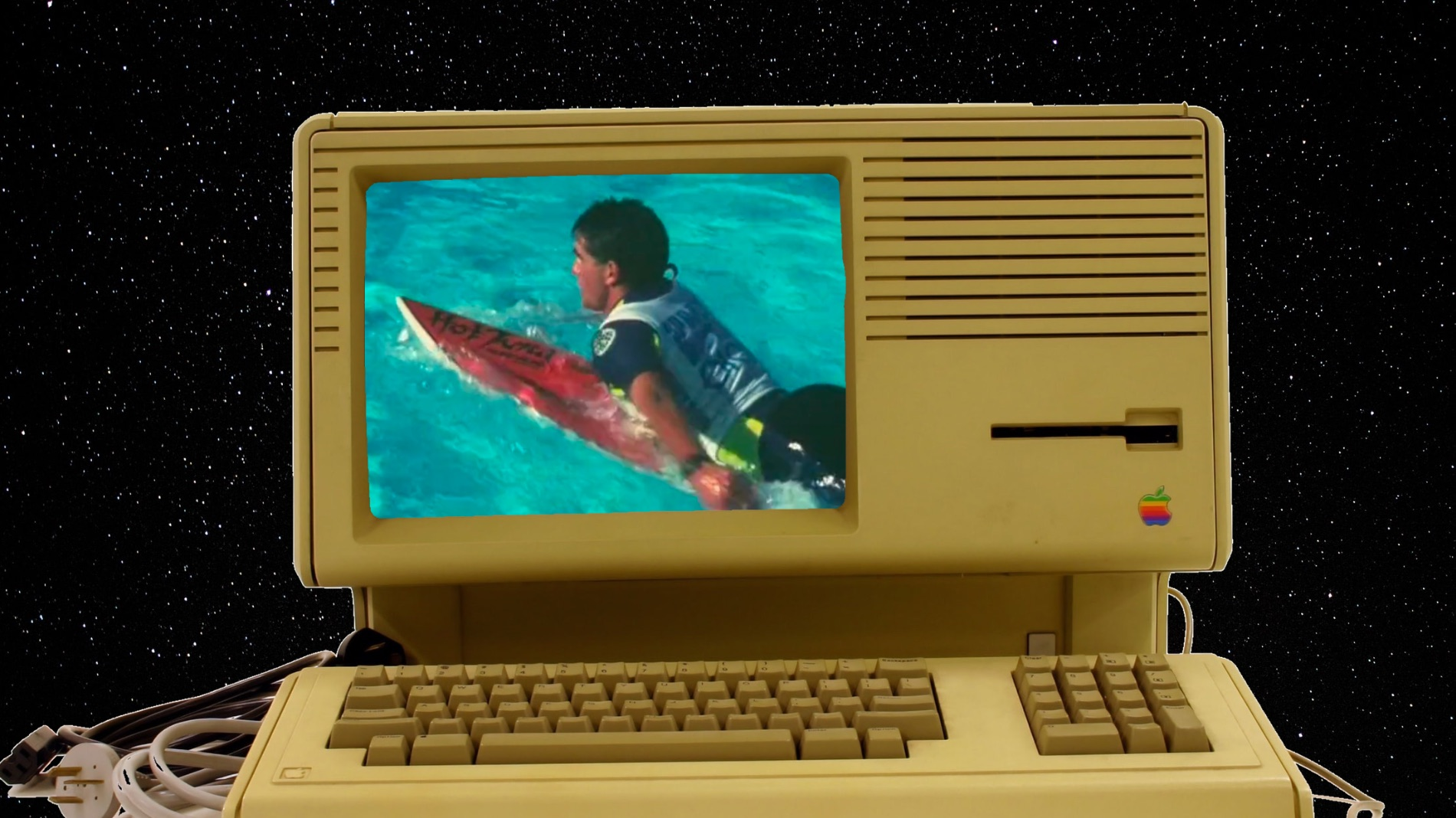 vintage computer and wave pool