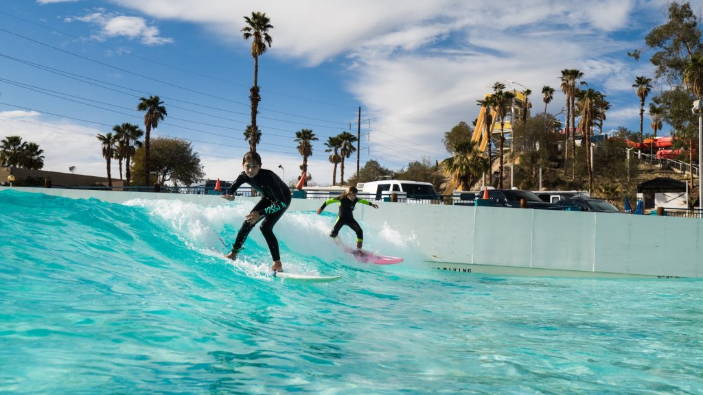 kids at surf loch wave pool palm springs