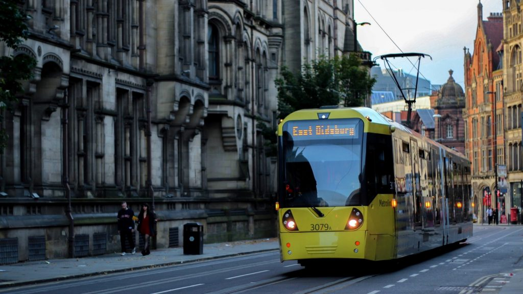 Train in the city of Manchester