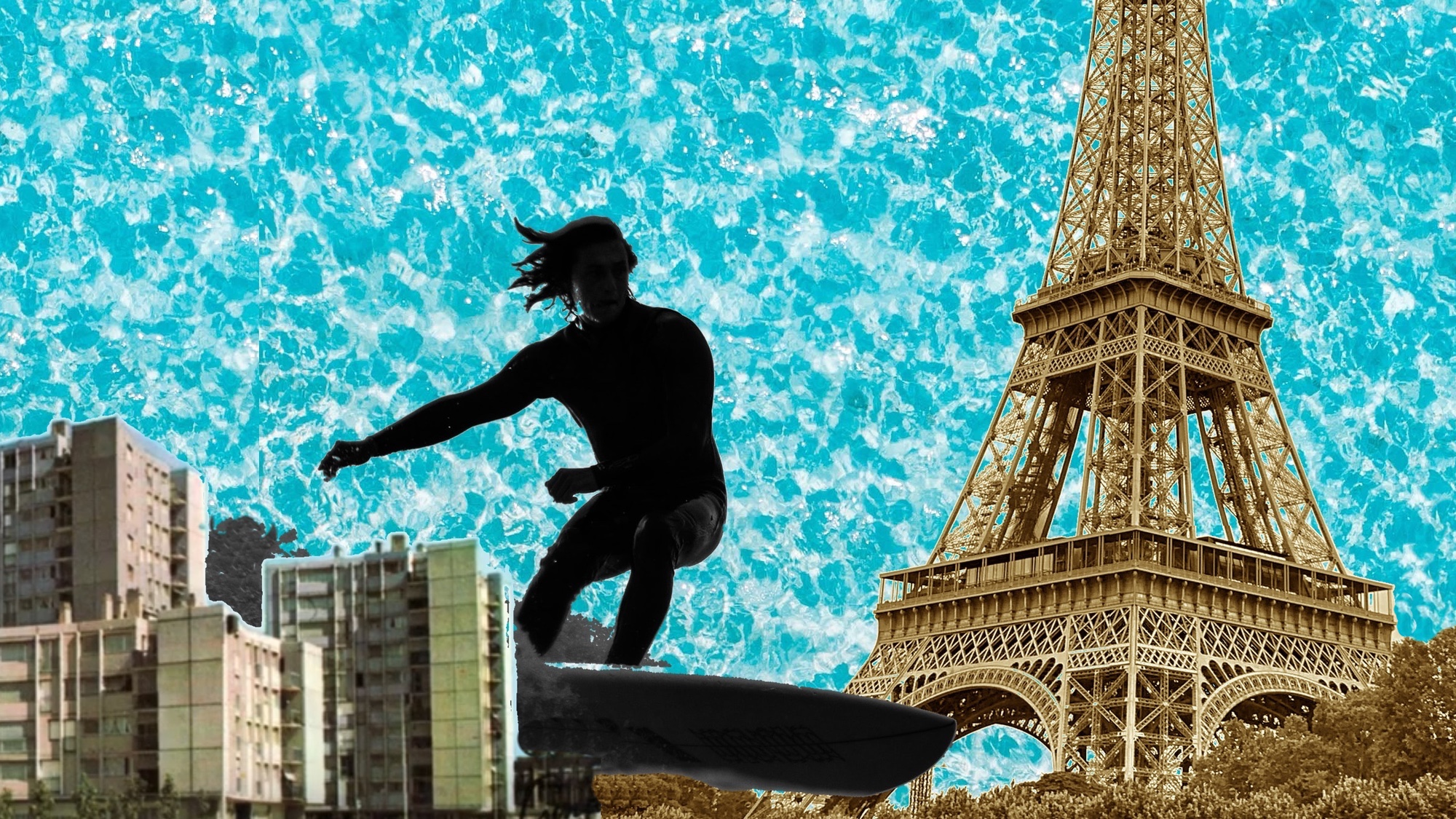 Artist mock up of surfer and eiffel tower
