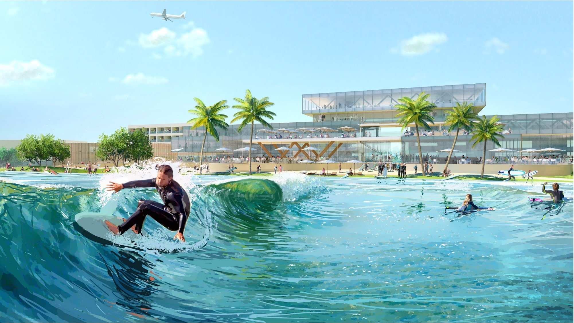 Endless Surf wave system for Surftown in Munich