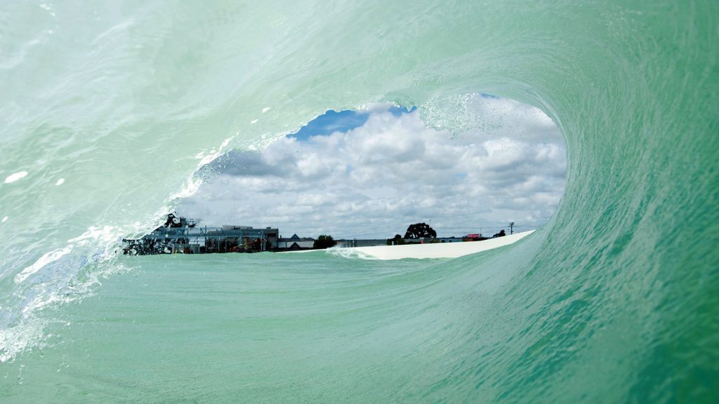 from inside the tube at urbnsurf melbourne