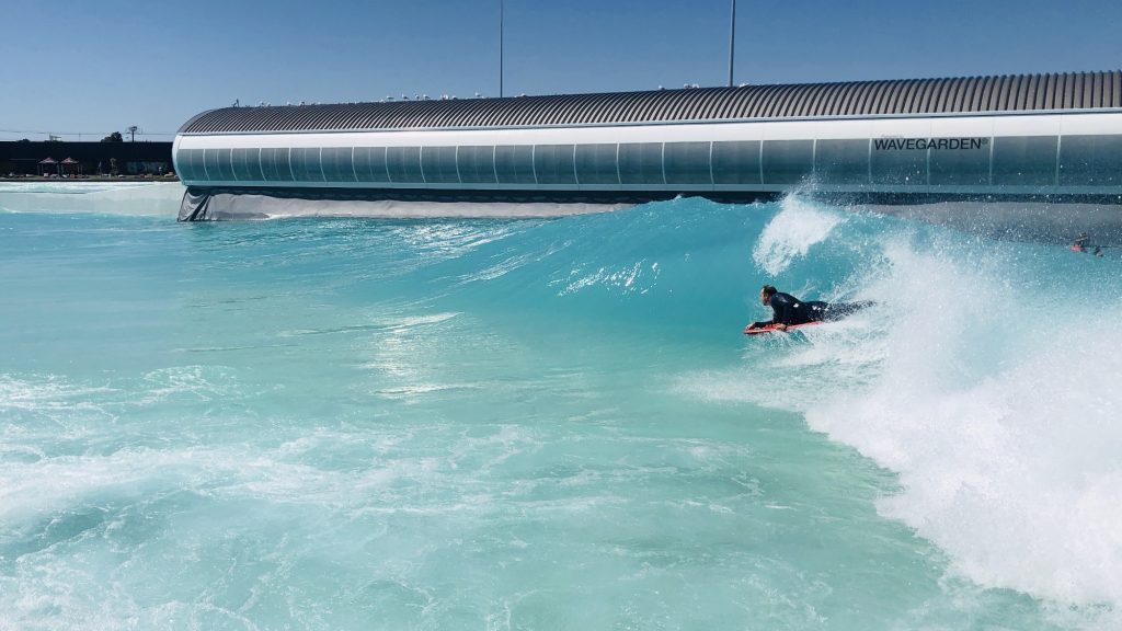 bodyboarding a wave pool