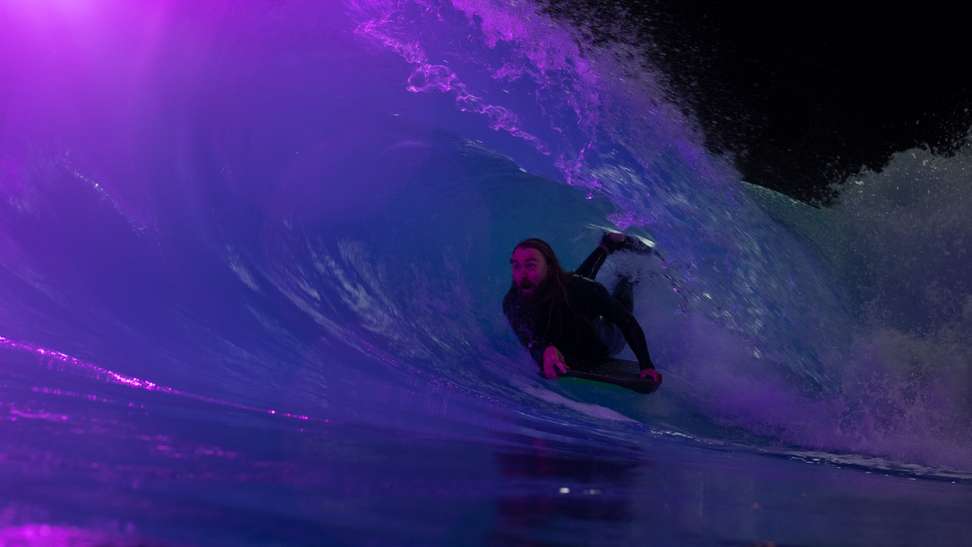 wave pool night surf photography