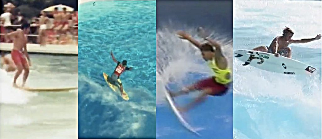 Surfing Japan's wave pools through the decades: (L to R) Summerland 1960s, Marui 1980s, Ocean Dome 1990s & Ocean Dome 2000s.